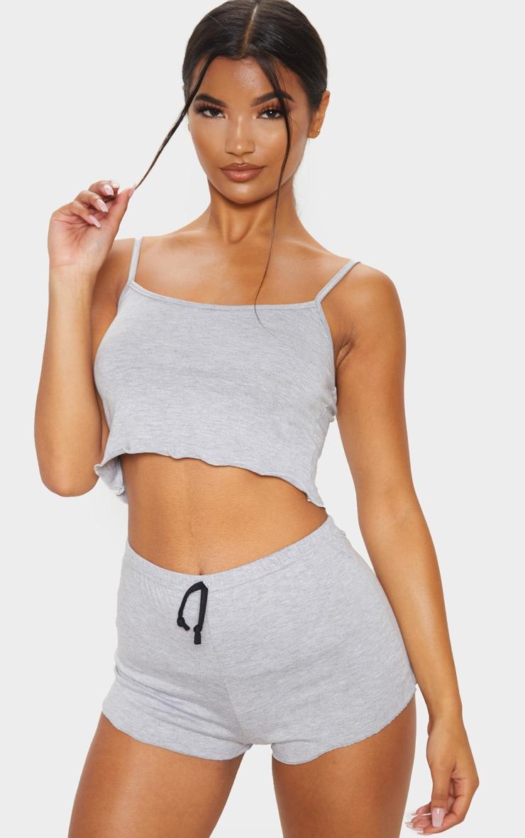 Grey Basic Frill Hem Pyjama Set 1