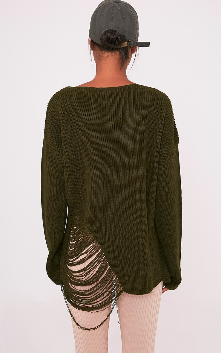 Aislinn Khaki Ladder Distress OverSized Jumper 2