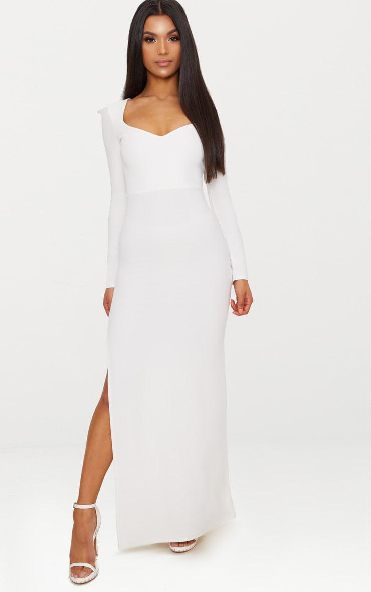 White Pointed Shoulder Extreme Split Maxi Dress 1