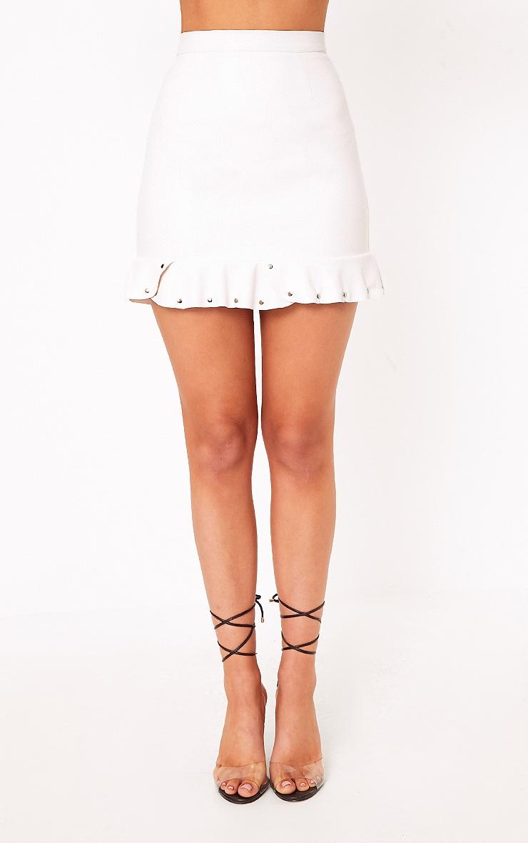 Horatia Cream Stud Hem Leather Mini Skirt 2