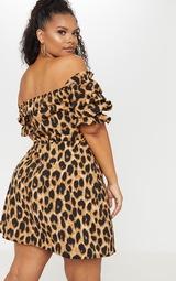 3856a0abd1c4 Plus Tan Leopard Print Puff Sleeve Shift Dress   PrettyLittleThing