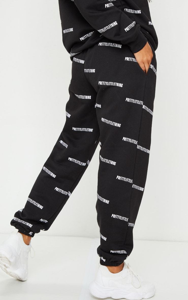 PRETTYLITTLETHING Black Printed High Waisted Joggers 3