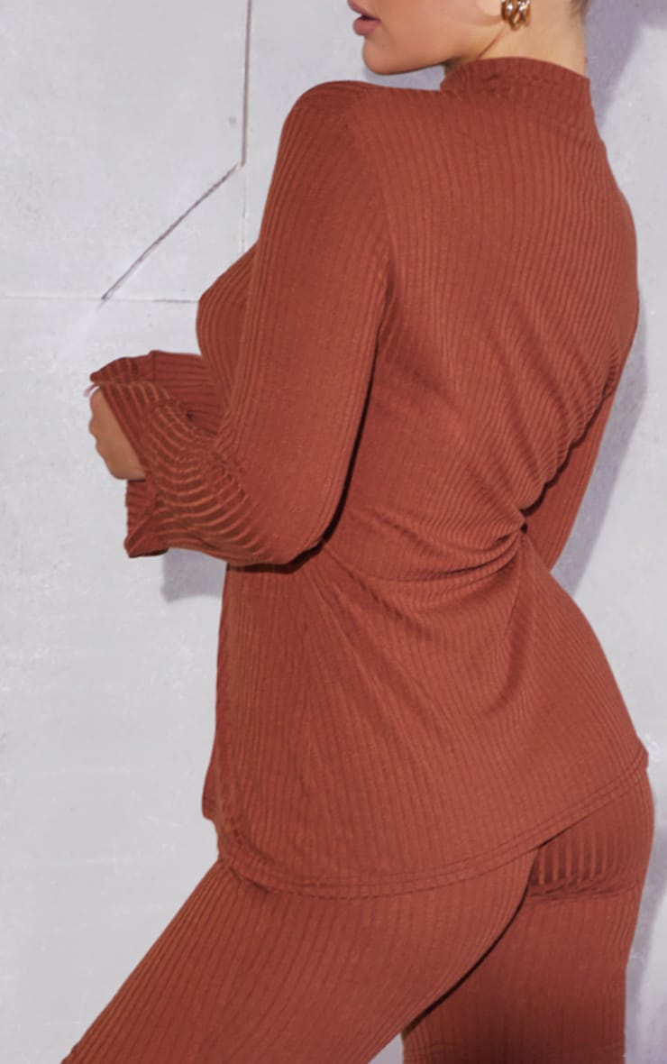 Chocolate Brown Soft Rib Split Front High Neck Long Sleeve Top 2