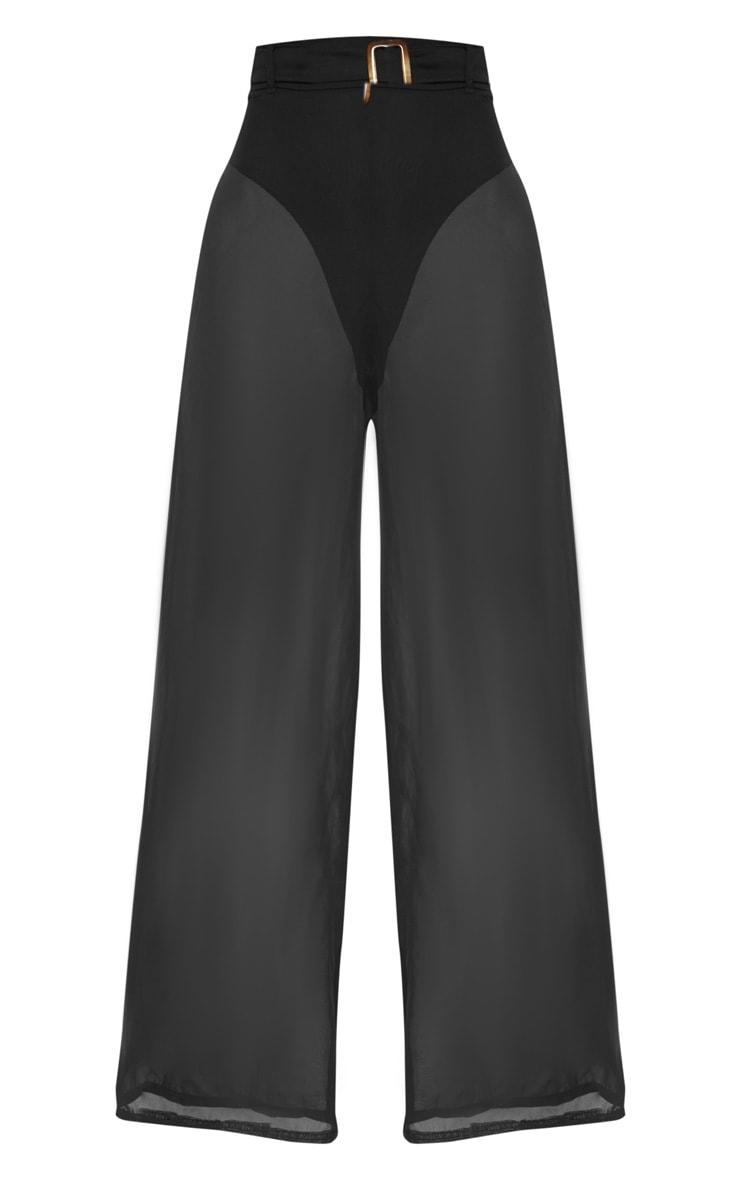 Black Chiffon Tortoise Belt Beach Trouser 4