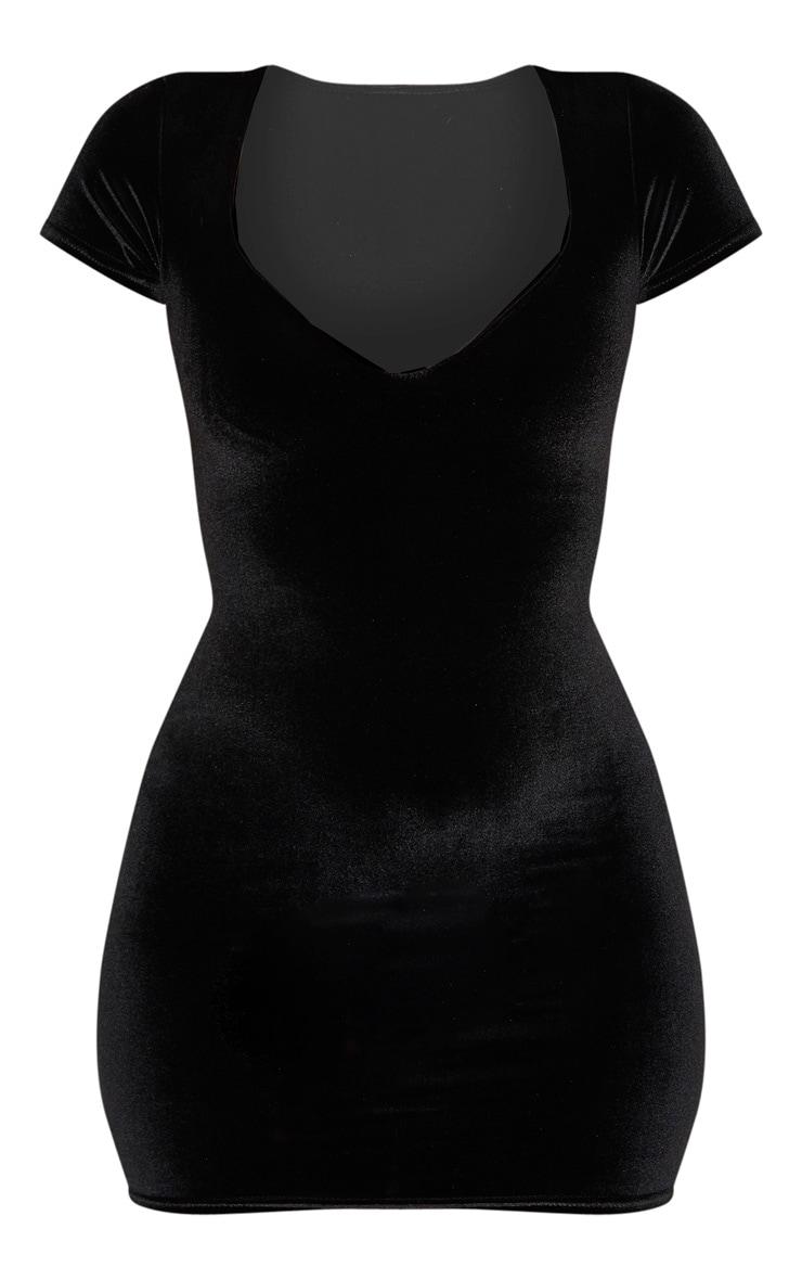 Robe moulante en velours noir à col coeur et manches courtes 3
