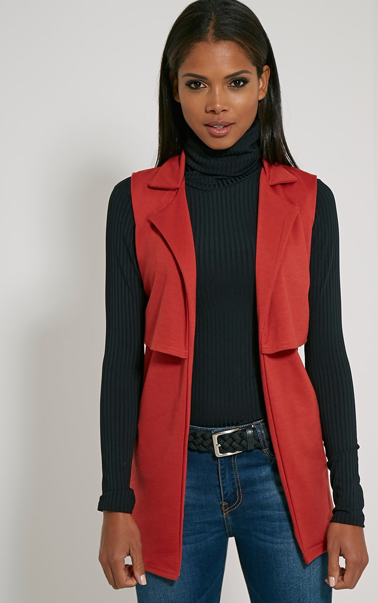 Tallulah Rust Belted Sleeveless Jacket 1