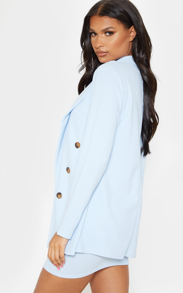 Baby Blue Oversized Button Detail Blazer  2