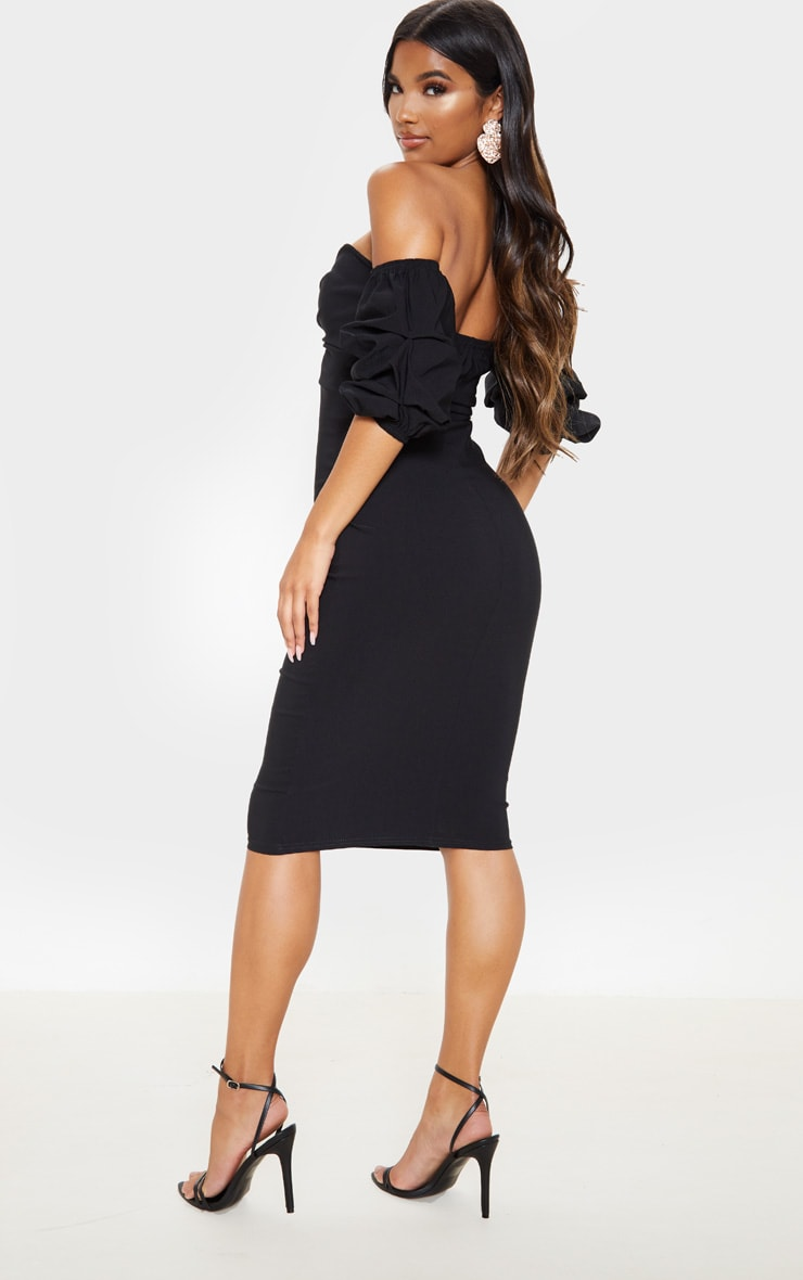 Black Bardot Twist Detail Midi Dress 2