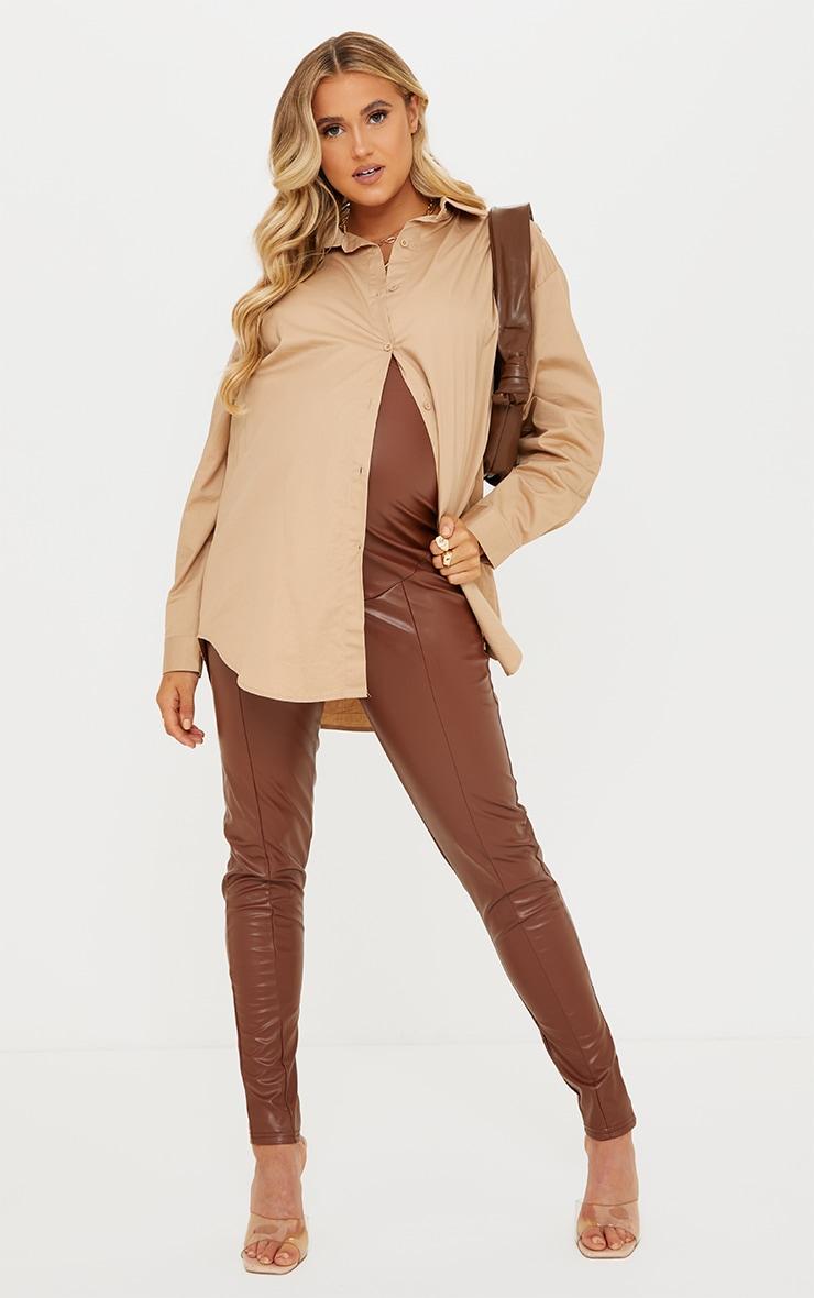 Maternity Camel Faux Leather Split Hem Straight Leg Leggings 1