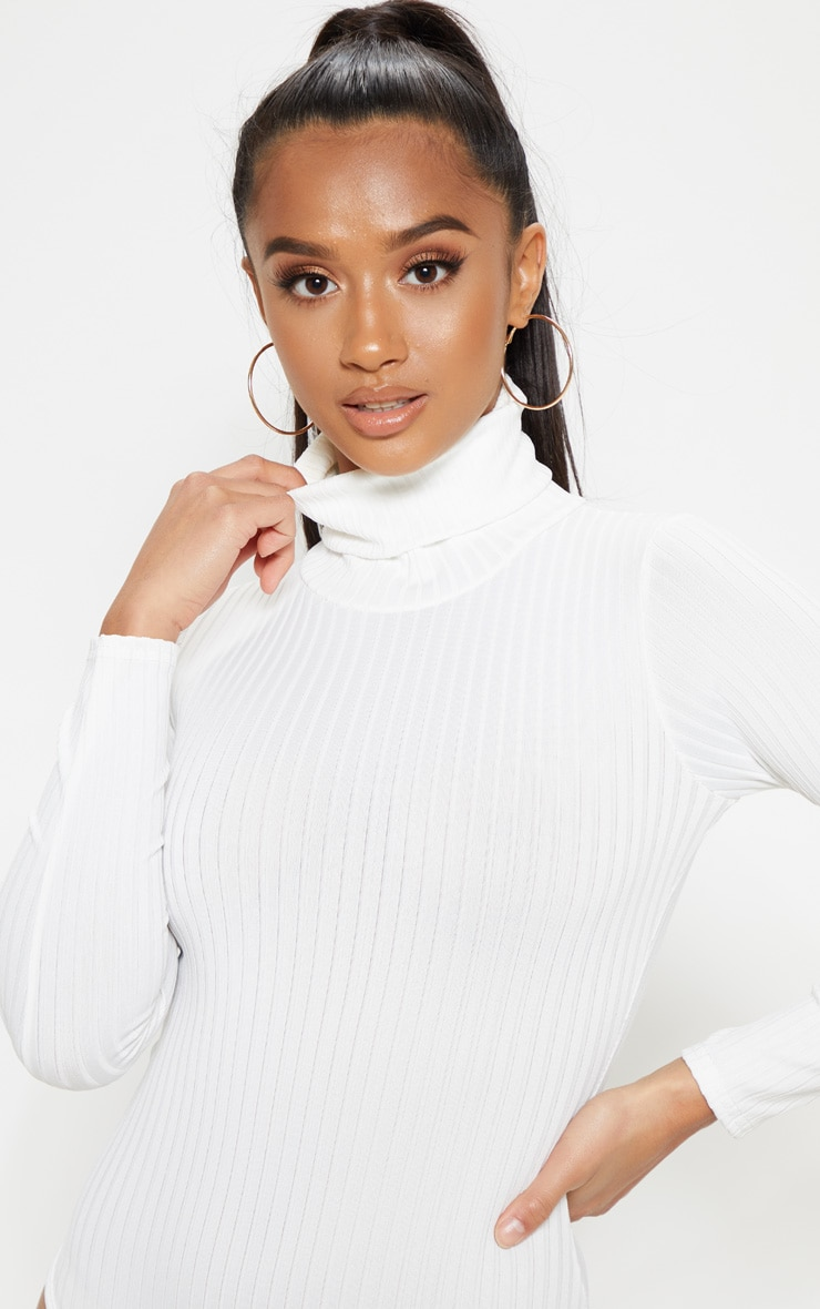 Petite Cream Rib Roll Neck Long Sleeve Bodysuit 4
