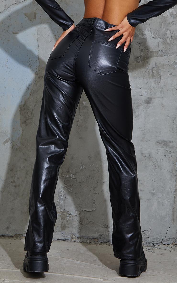 Black Lace Front Coated Split Hem Jeans 3