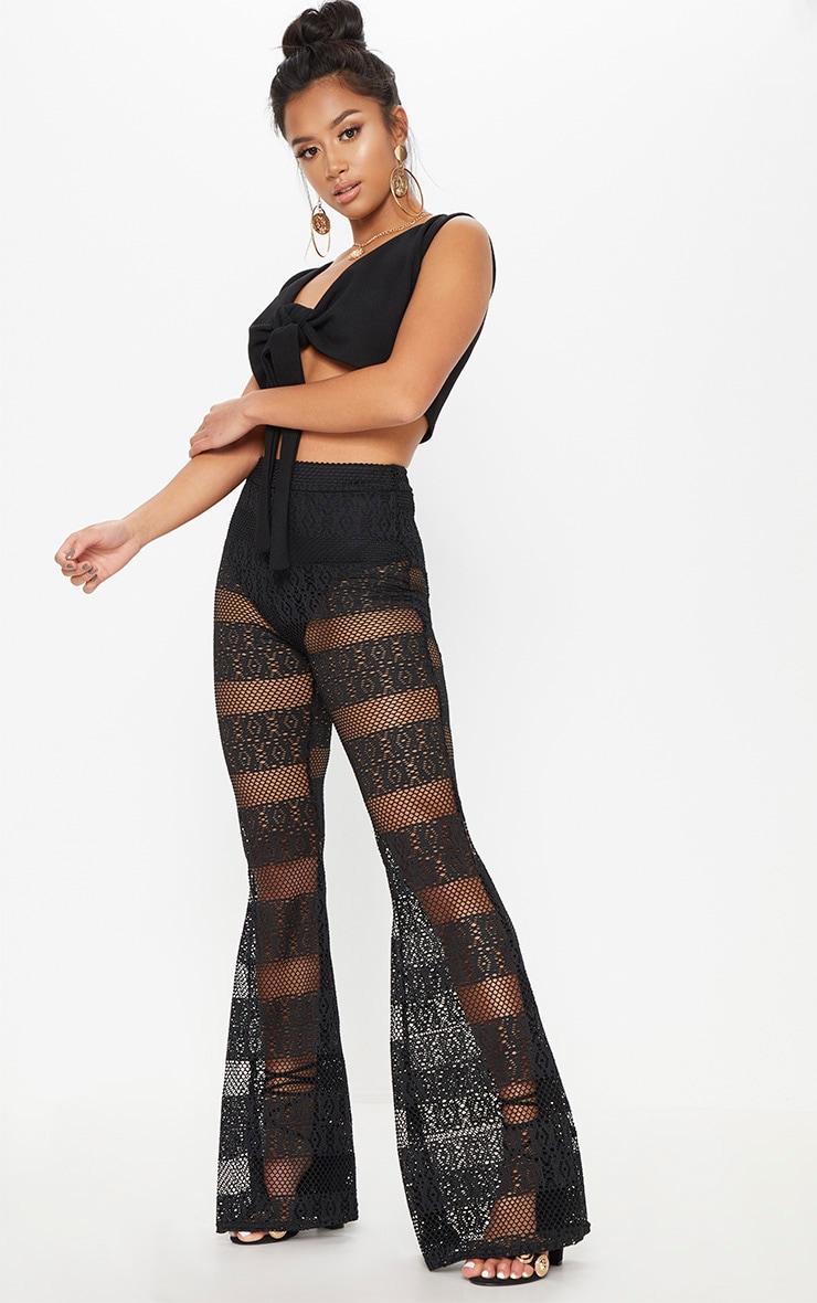 Petite Black Crochet Lace Flared Trousers 1