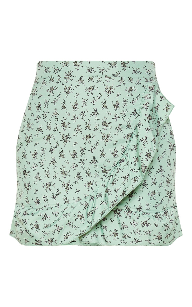 Green Floral Frill Hem Wrap Mini Skirt 3