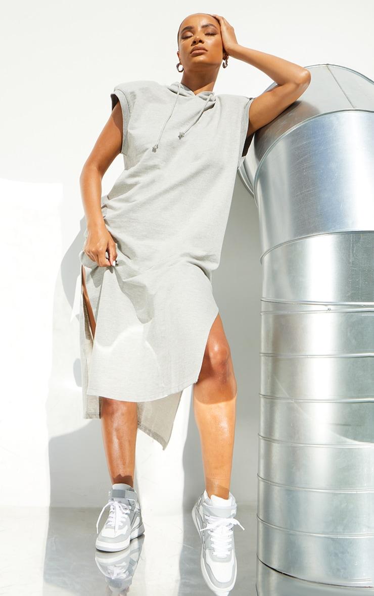 Grey Marl Shoulder Pad Sleeveless Hooded Sweat Jumper Dress 3