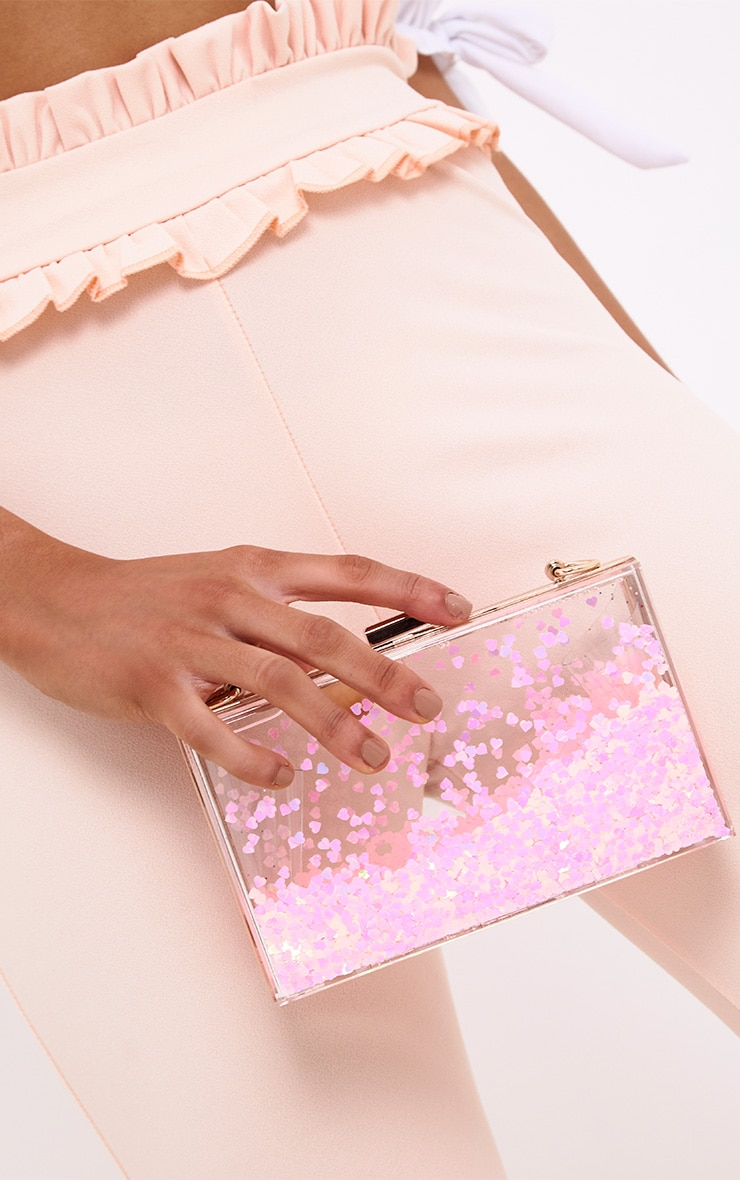 Pink Sequin Clear Box Clutch 2