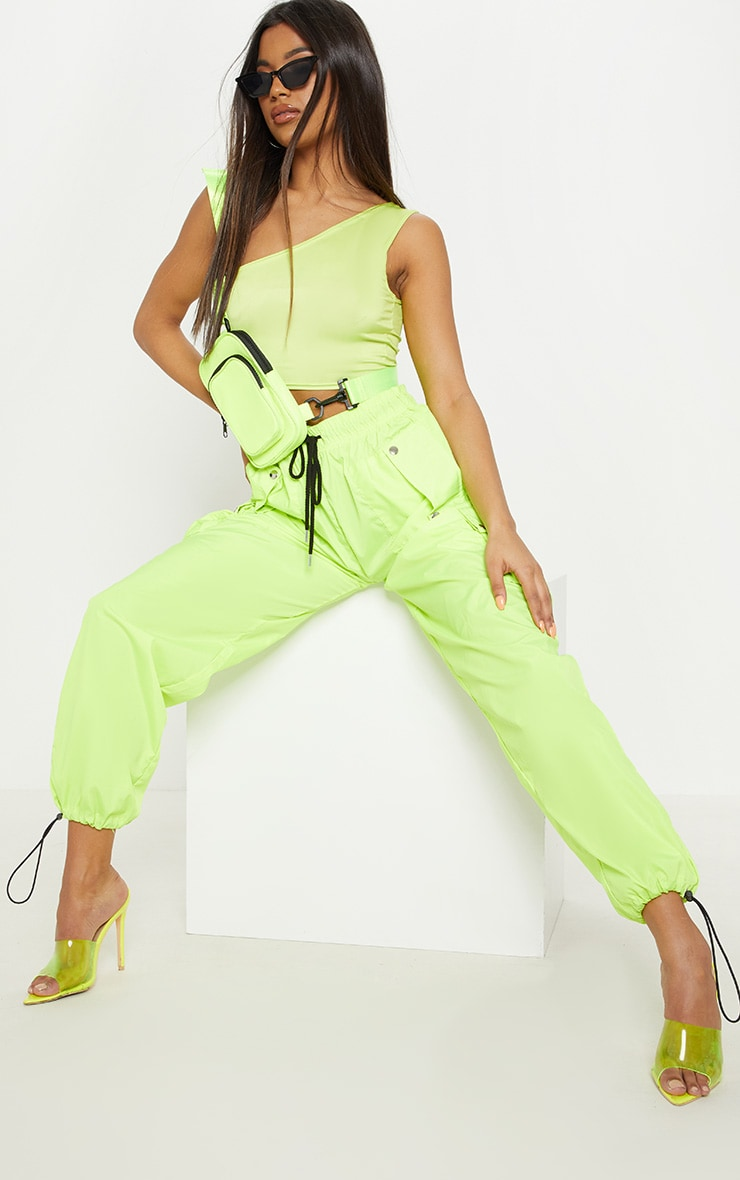 Basic Neon Lime One Shoulder Jersey Crop Top 4