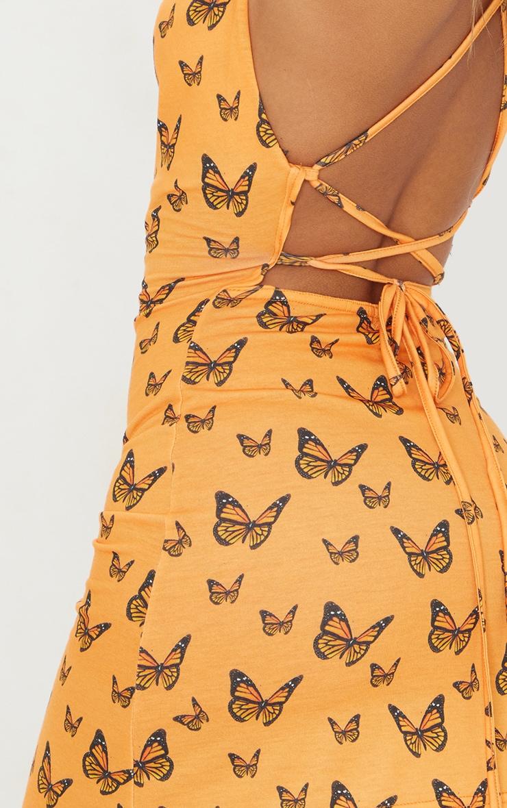 Orange Butterfly Print Lace Up Back Shift Dress 4