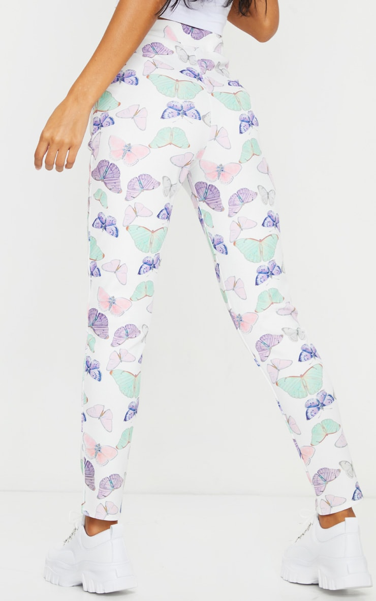 White Butterfly Print Skinny Pants 3