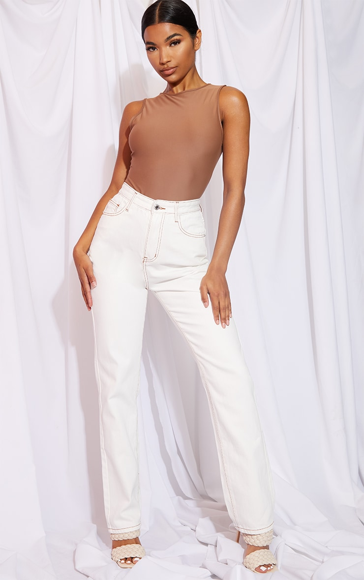 Off White Contrast Stitch Long Leg Straight Jeans image 1