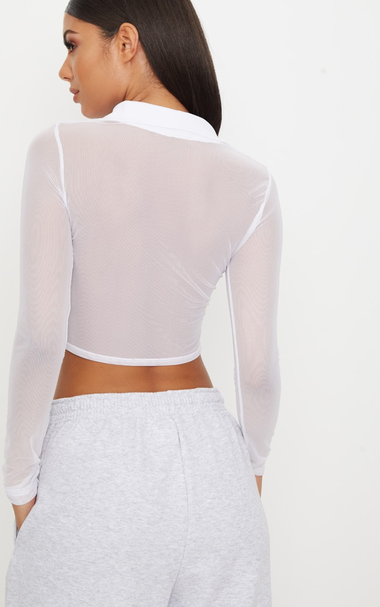 White Sheer Mesh Long Sleeve Crop Shirt  2