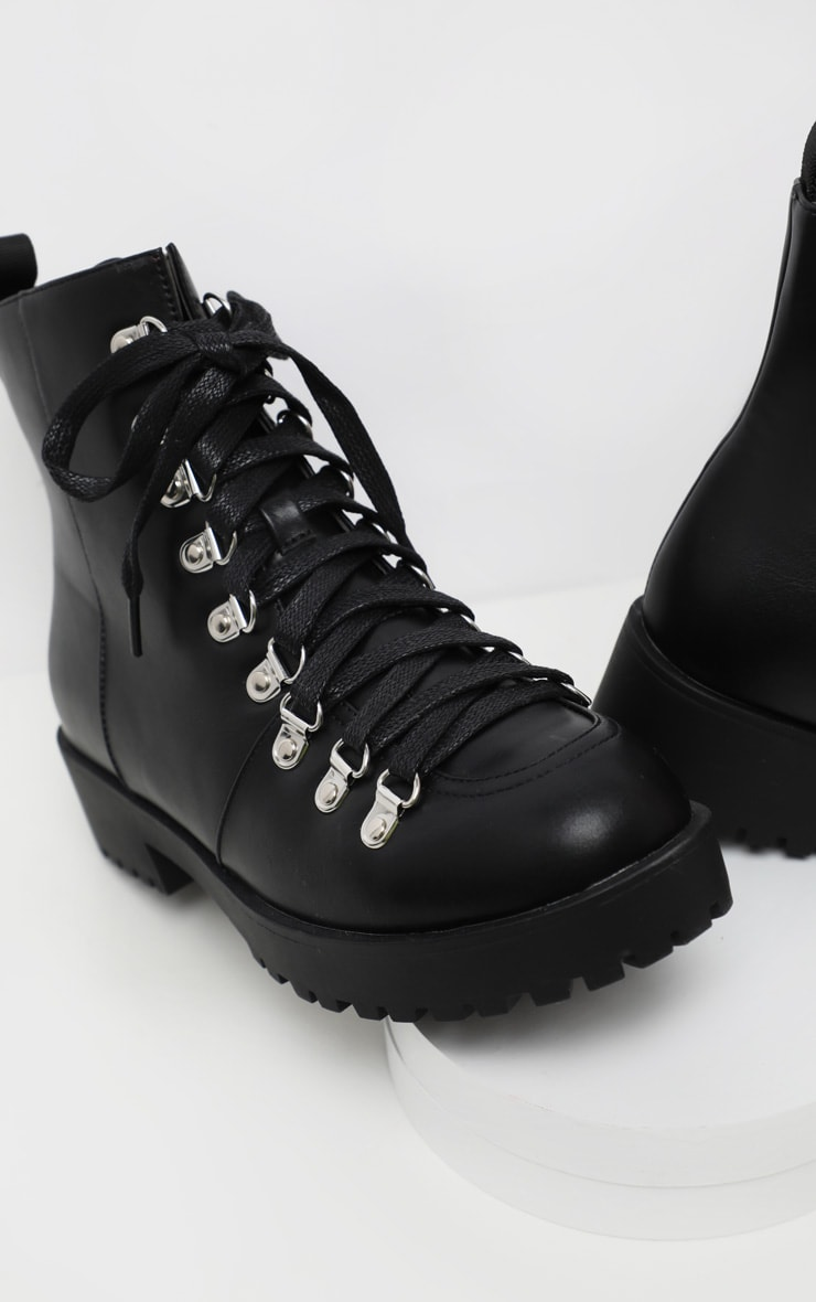 Black Cleated Flat Hiker Lace Up Ankle Boot 4
