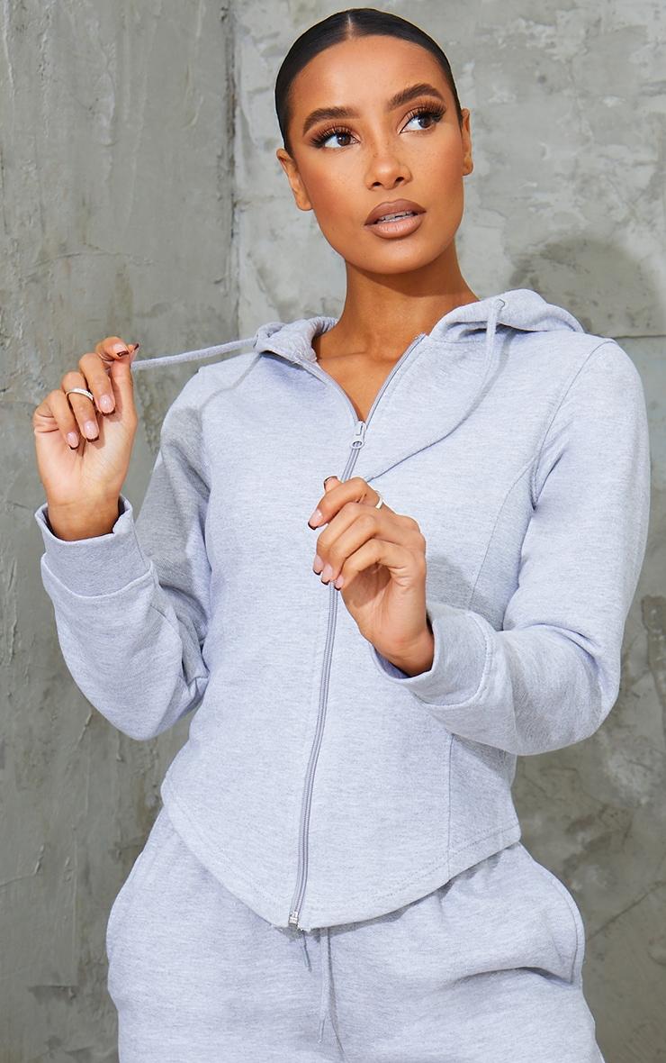 Grey Marl Corset Detail Zip Up Hoodie 1