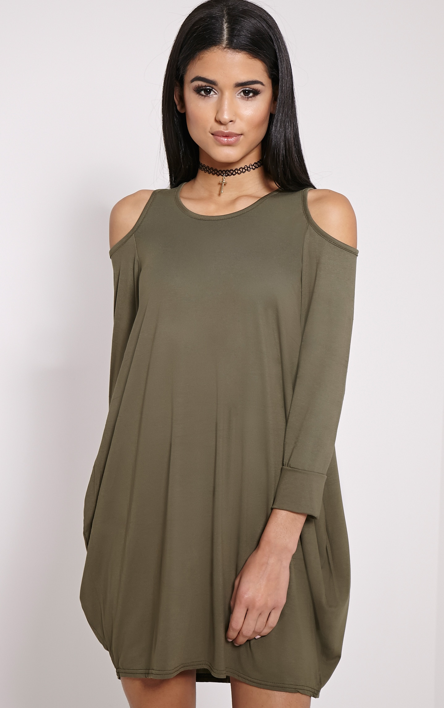 Bronywn Khaki Cut Out Shoulder Dress 1