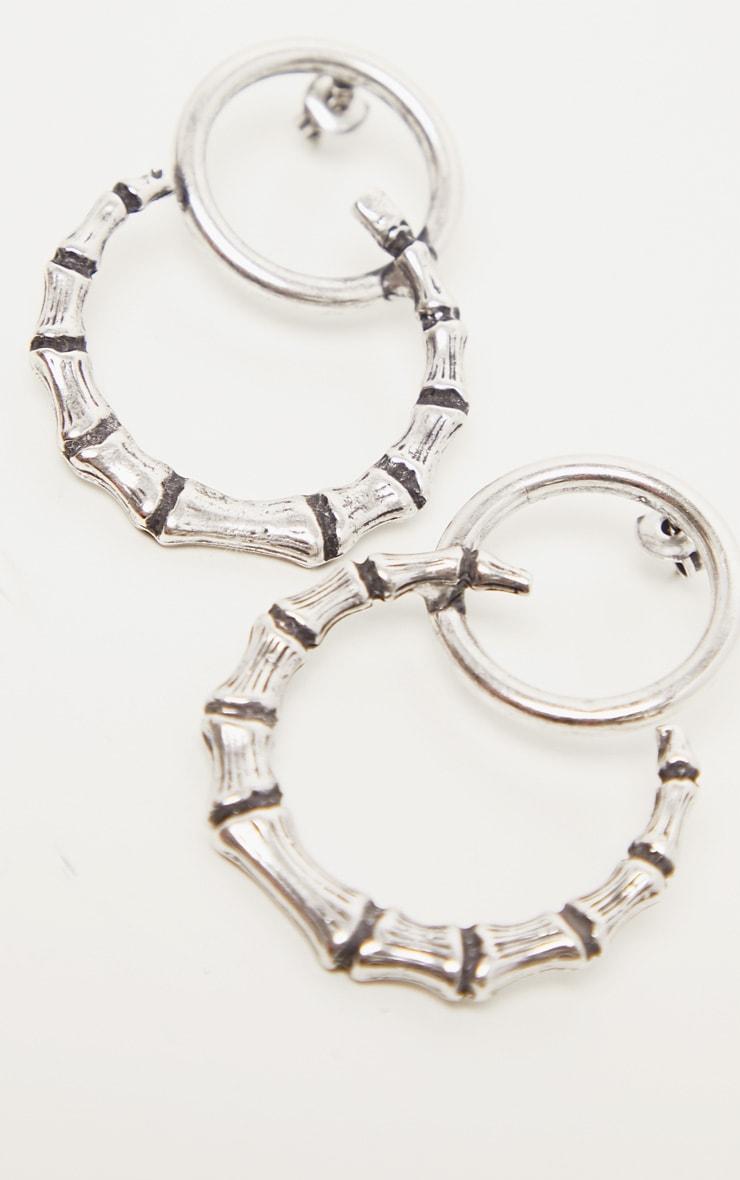 Silver Bamboo Horn Earrings 3