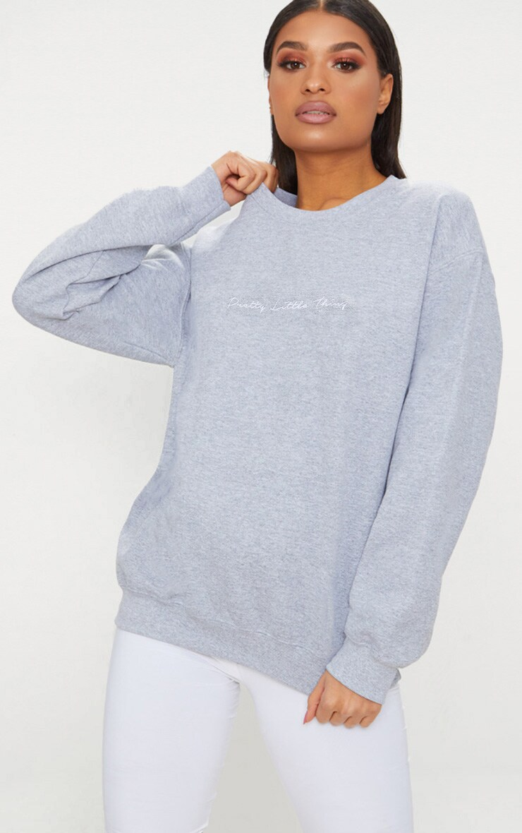 PRETTYLITTLETHING Grey Marl Oversized Sweater 2