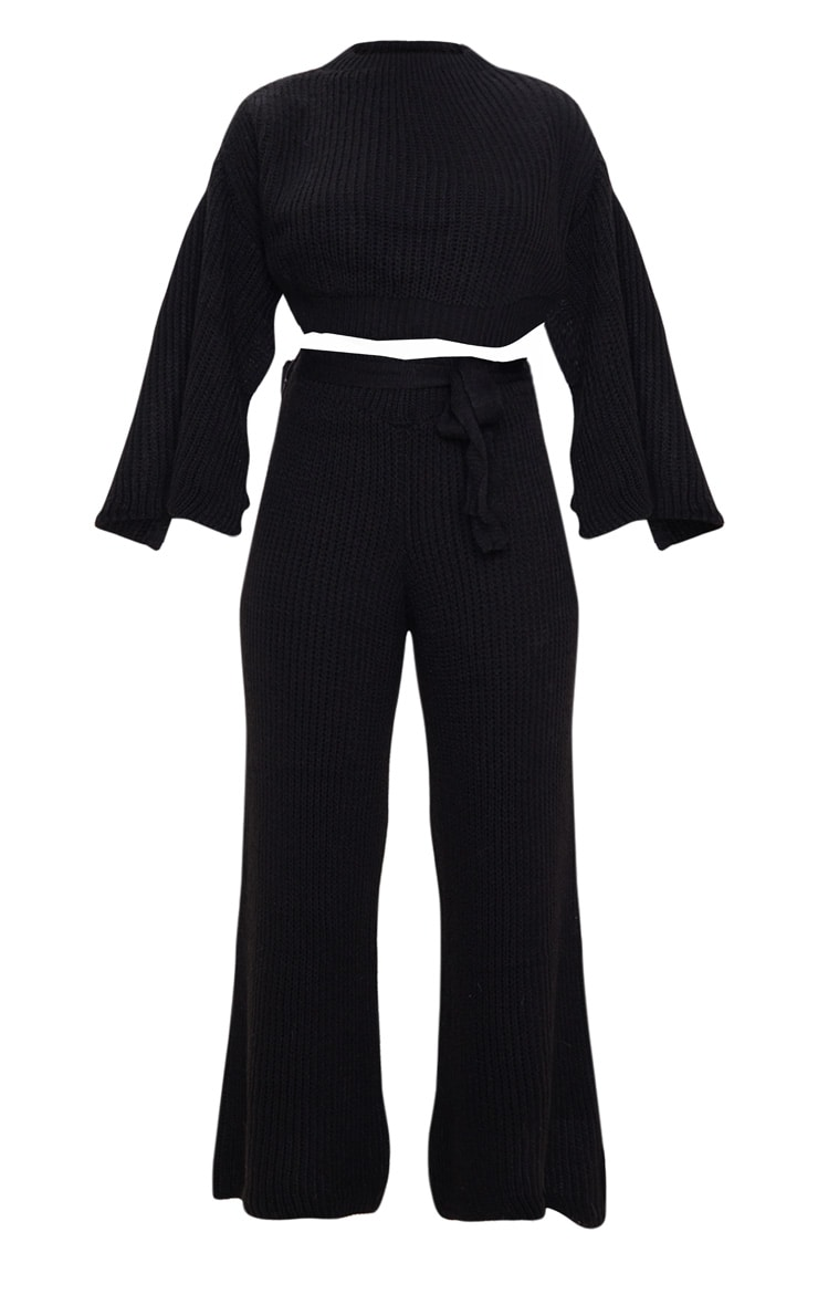 Black Split Sleeve Wide Leg Lounge Set 3