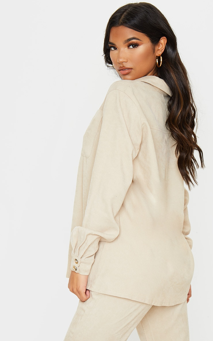 Camel Cord Button Front Oversized Shirt 3
