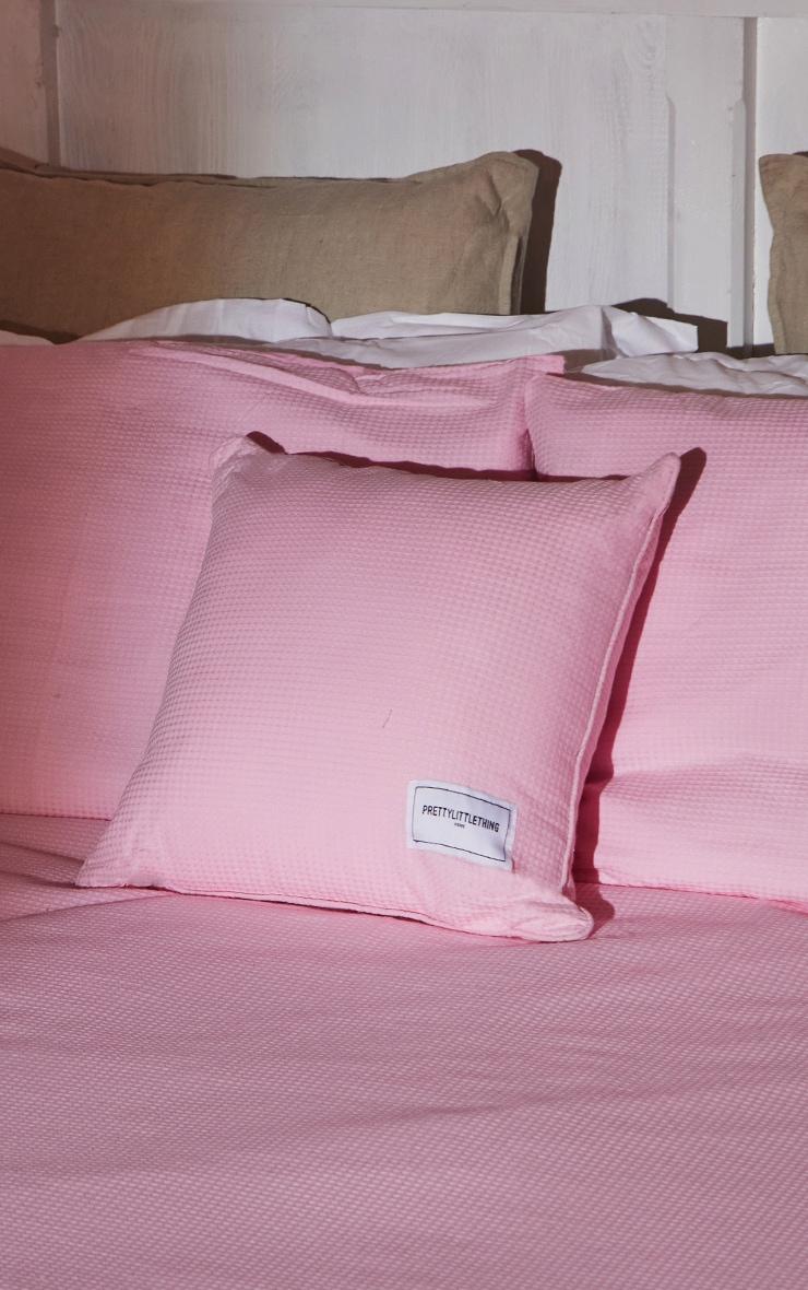 PRETTYLITTLETHING Pink Waffle Large Cushion 1