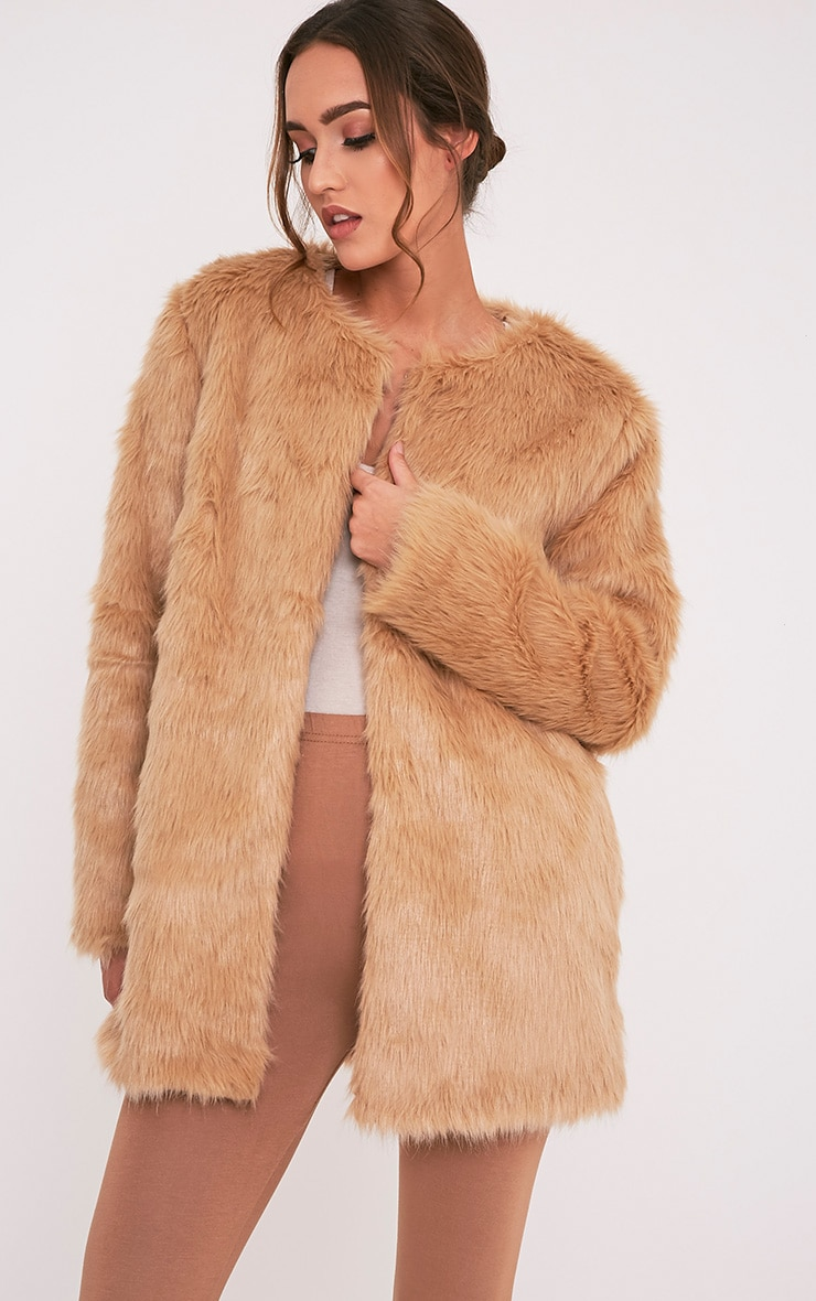 Florencia Tan Faux Fur Coat 1