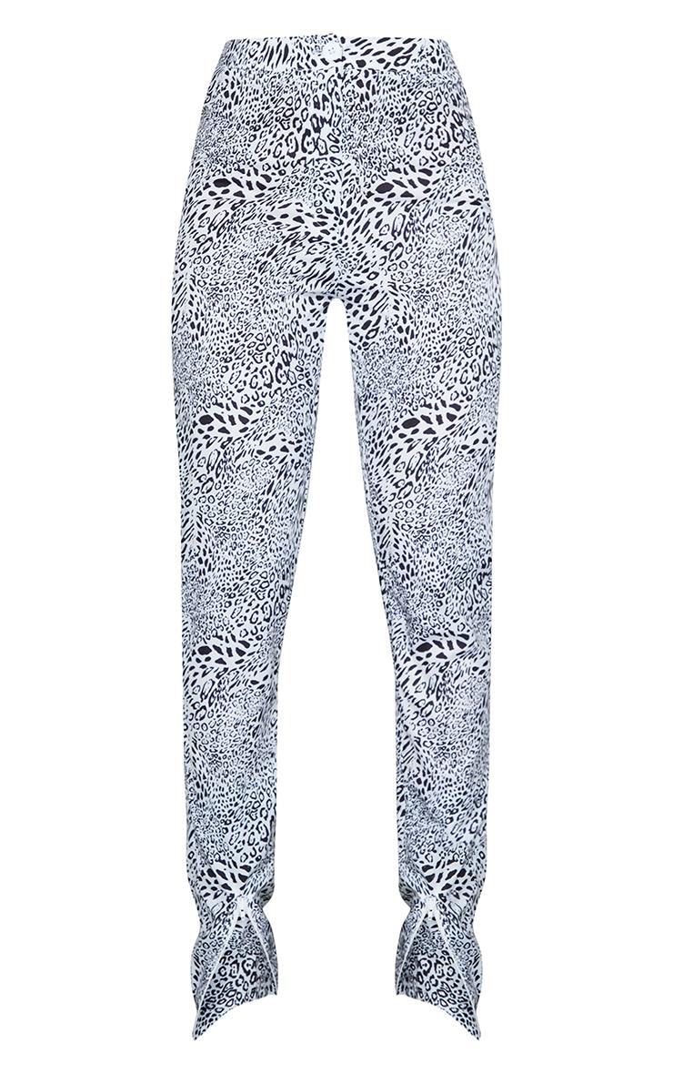 Grey Leopard Print Zip Hem Woven Skinny Trousers 5