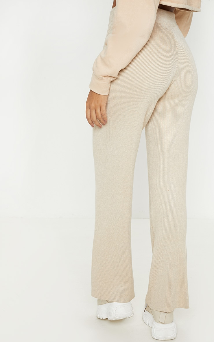 Ribbed Knitted Wide Leg Stone Trouser  4