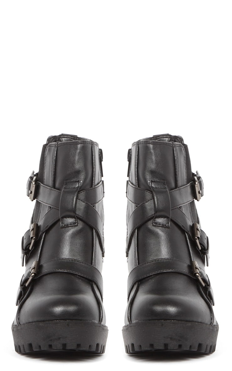Stacie Leather Chunky Strap Buckle Boots 3