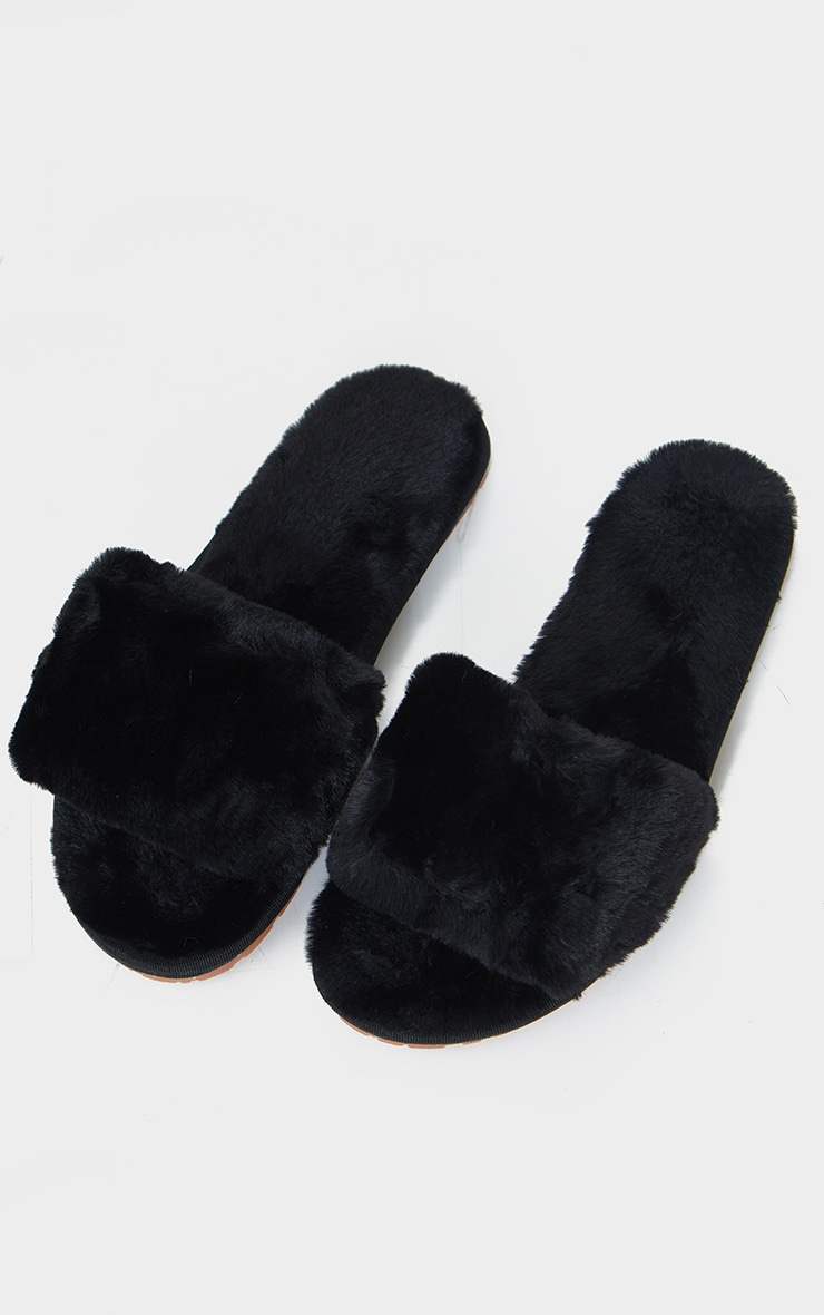 Black Fluffy Cross Strap Slider Slippers 3
