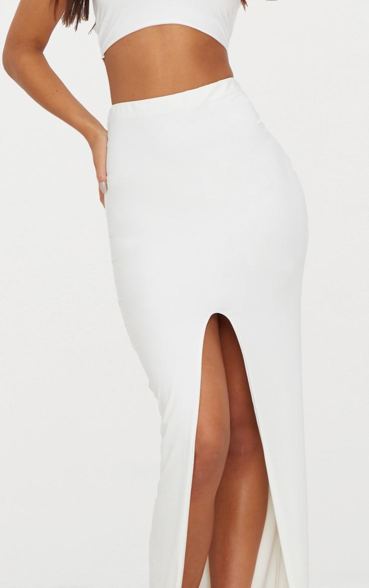 White Slinky Split Midaxi Skirt 5