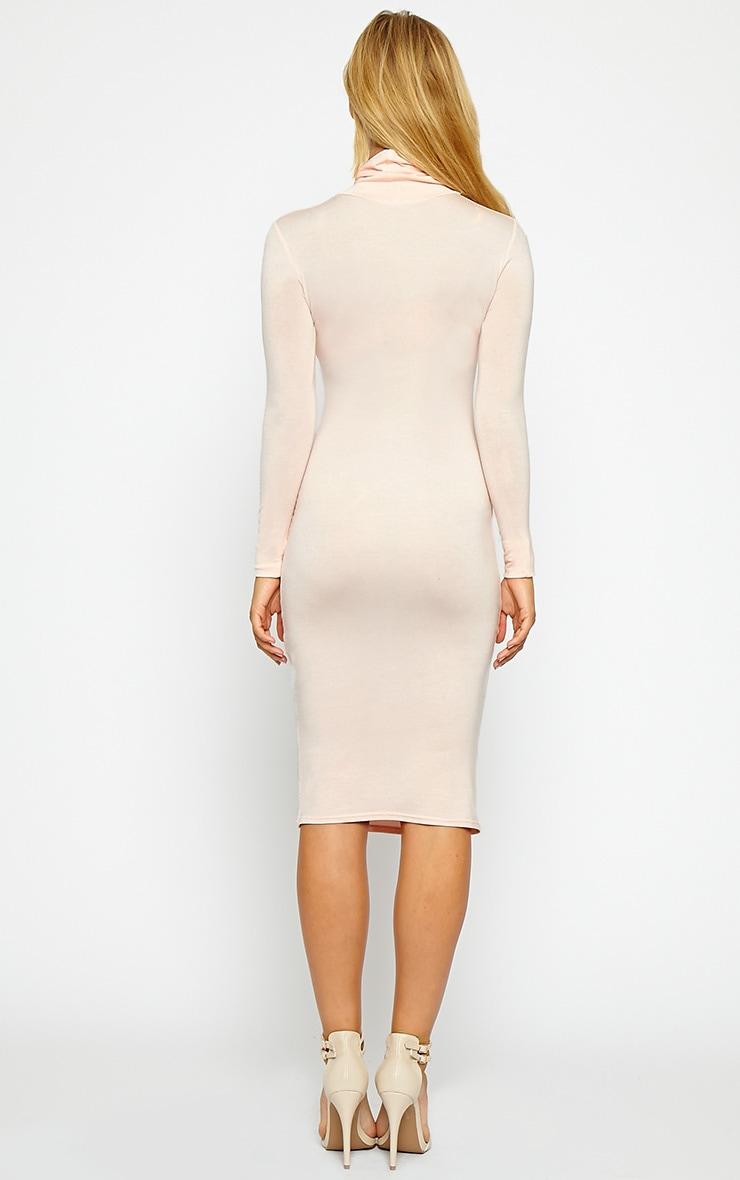 Basic Nude Jersey Roll Neck Midi Dress 2