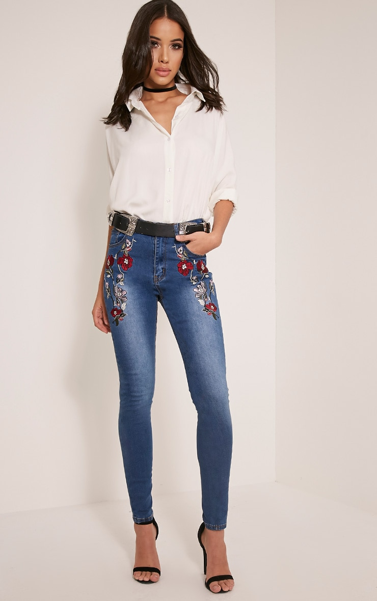 Alesha Dark Wash Embroidered High Waisted Skinny Jeans 1