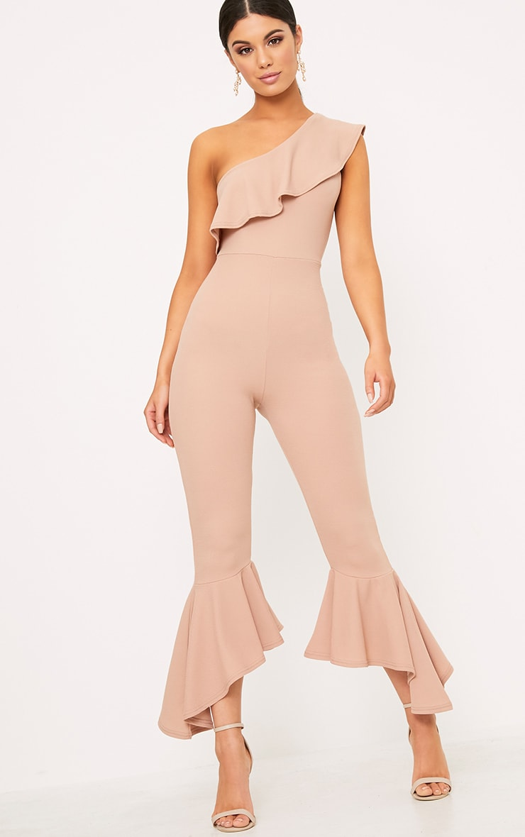 Nude One Shoulder Frill Detail Flared Ankle Jumpsuit 1