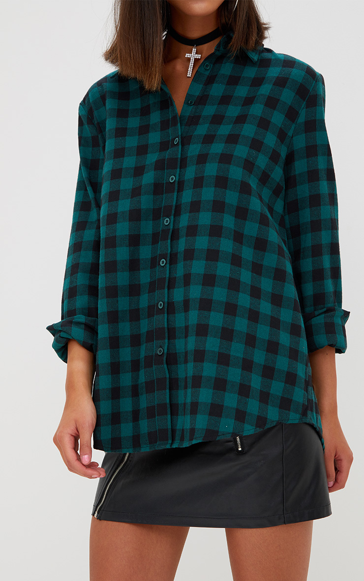 Green Oversized Checked Flannel Shirt  5