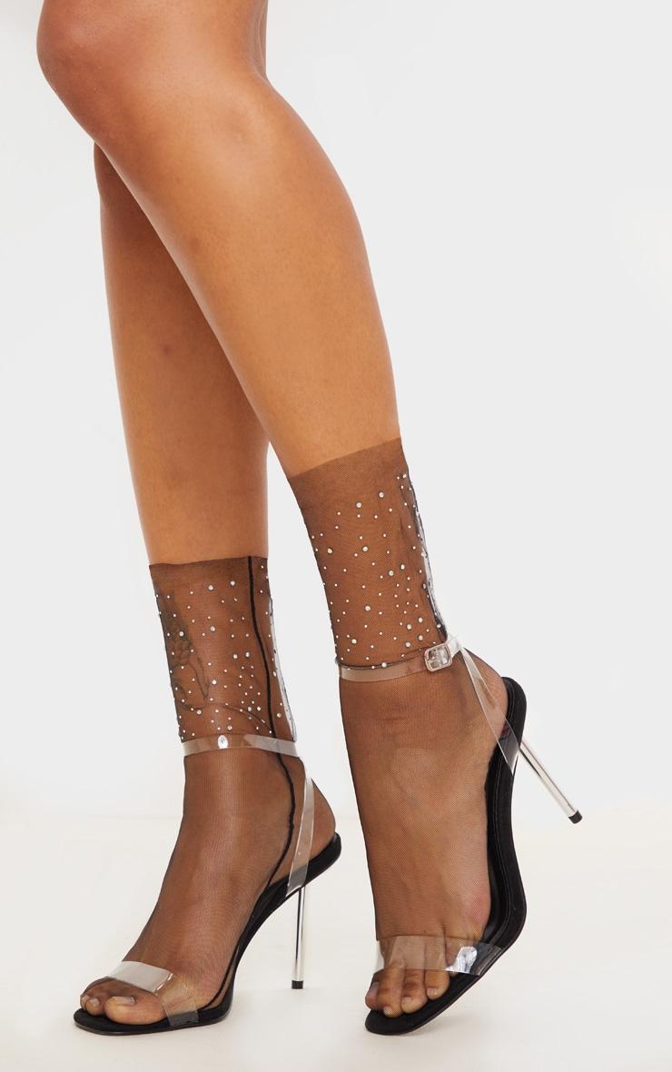 Black Diamante Embellished Socks 1