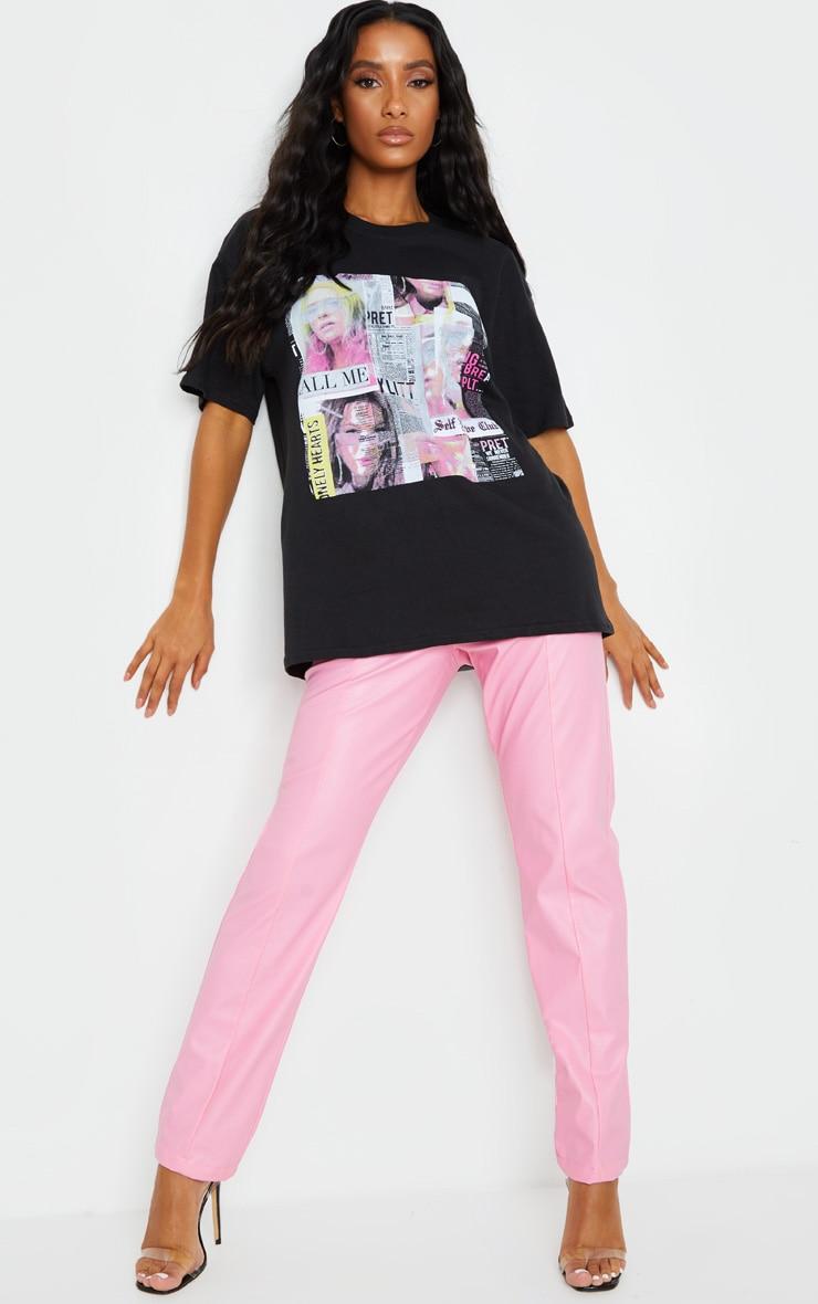 PRETTYLITTLETHING Black Newspaper Printed T Shirt 3
