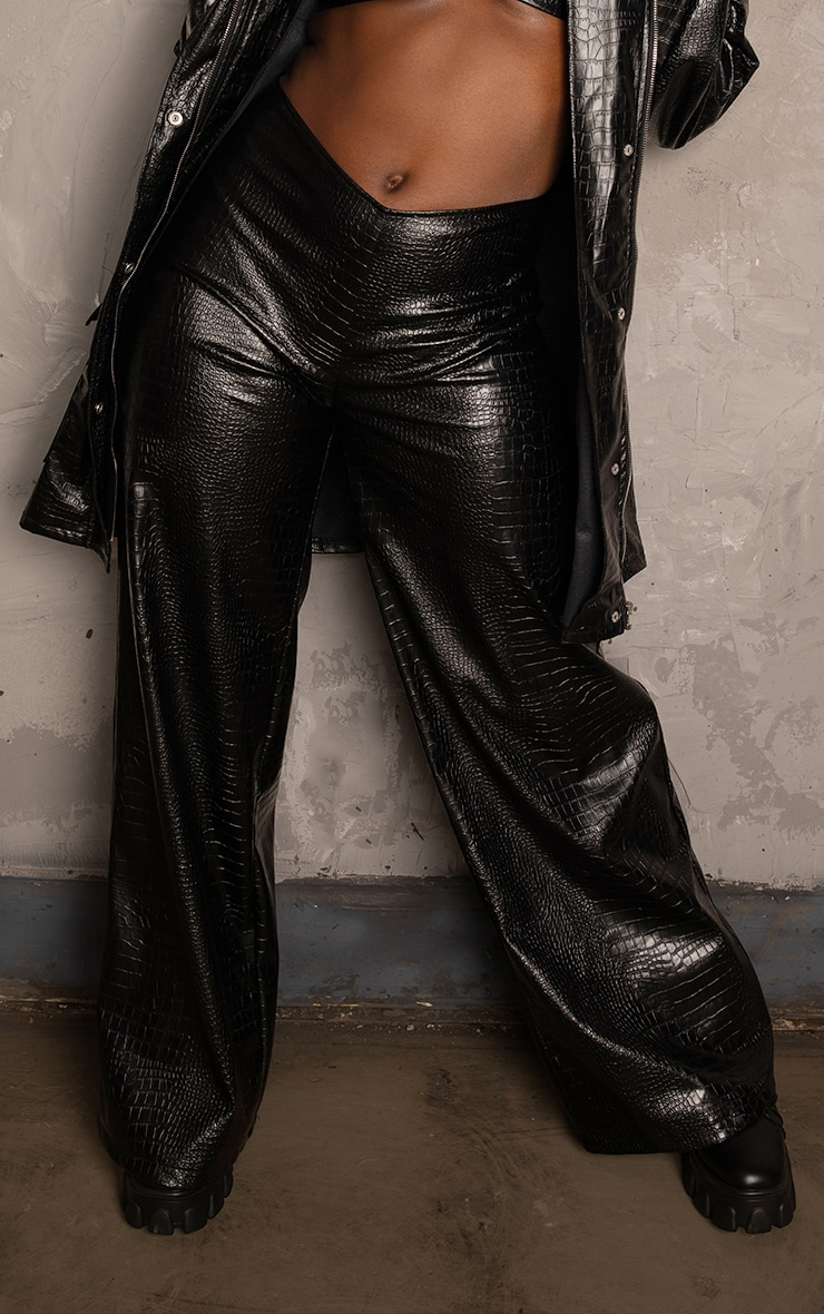 Black Croc PU Wide Leg Trousers 3