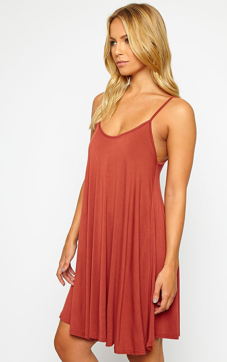 Basic Rust Strappy Jersey Swing Dress 4