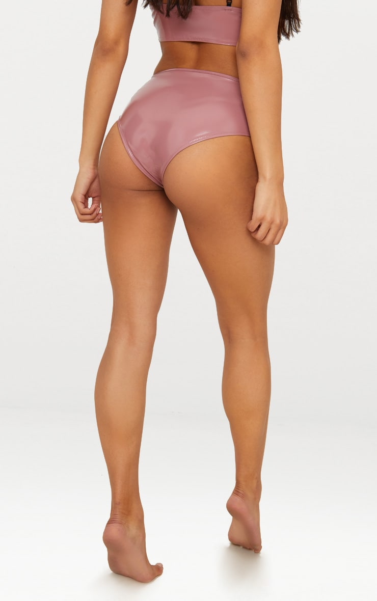 Dusty Pink Vinyl Lace High Waisted Knicker 4