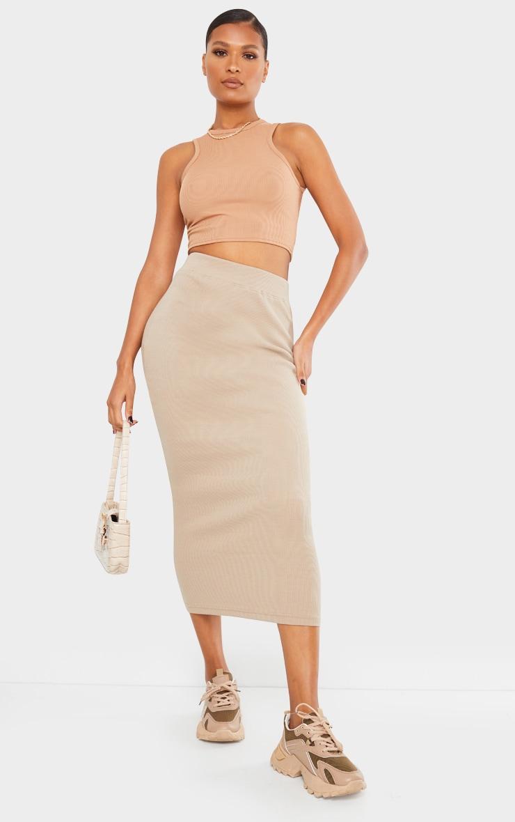 Taupe Heavy Rib Bodycon Maxi Skirt 1