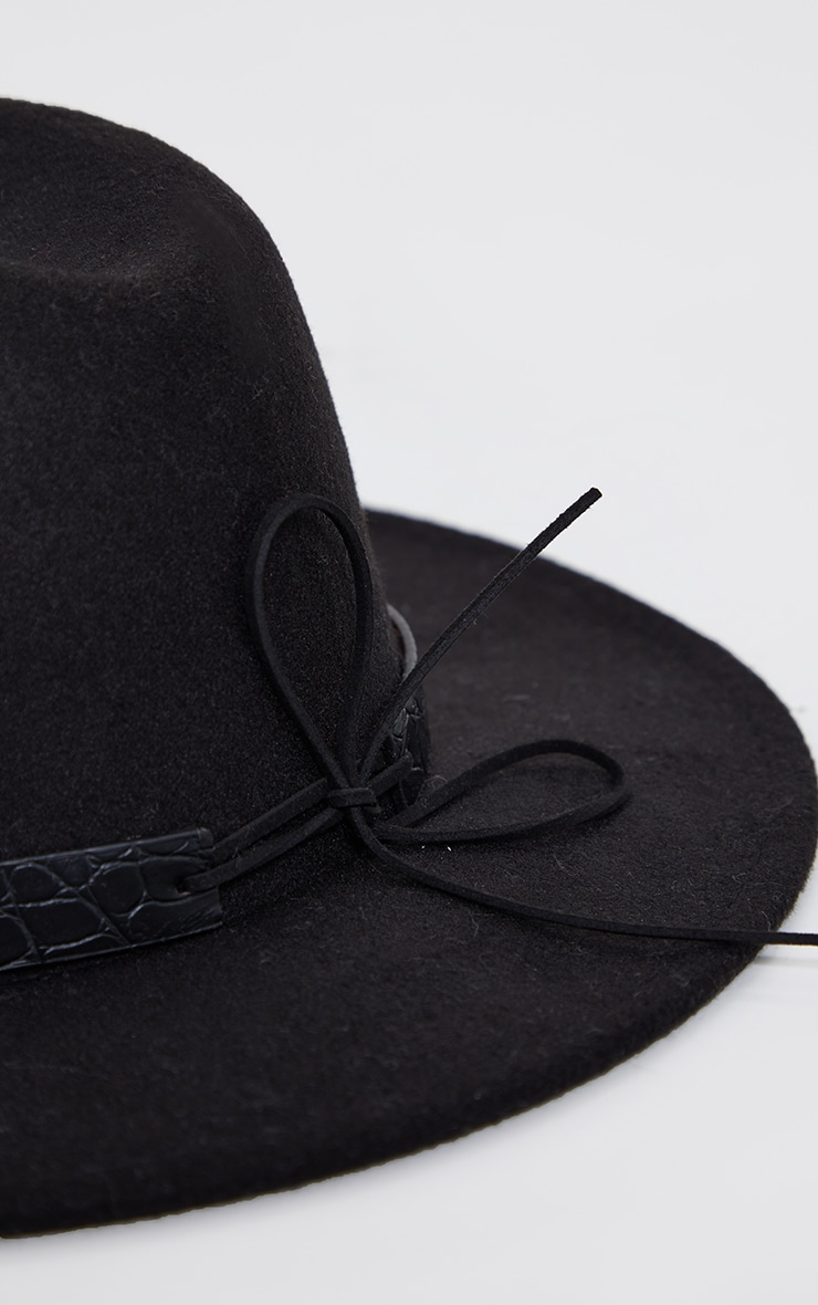 Black PU Snake Trim Fedora Hat 3