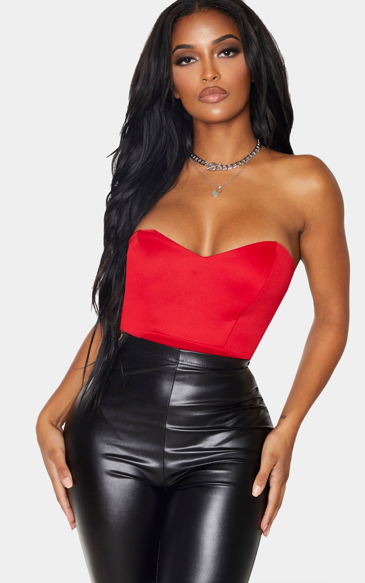 Shape Red Scuba Sweetheart Neck Bandeau Bodysuit 1
